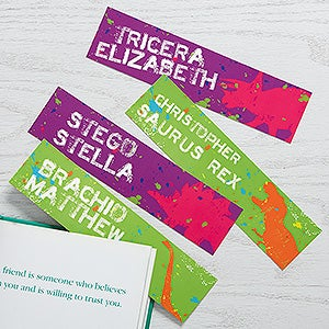 Personalized Paper Bookmarks Set Of 4 - Dinosaur - 15709