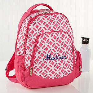 Geo Pink Embroidered Backpack - 15719