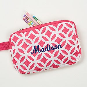 Geo Pink Embroidered Pencil Case - 15721