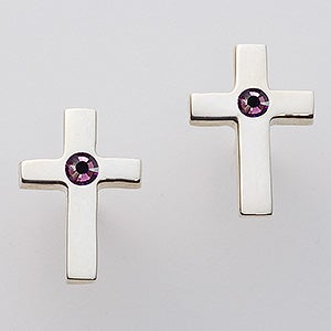Sterling Silver Cross Swarovski Birthstone Earrings - 15728D