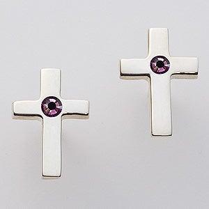 Sterling Silver Cross Swarovski Birthstone Earrings - 15728D