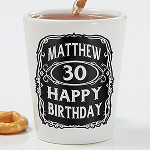 Personalized Birthday Shot Glass - Whiskey Label - 15786