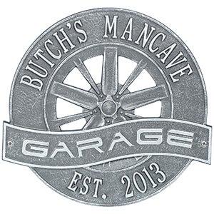 Personalized Aluminum Garage Plaque - Racing Wheel - 15806D