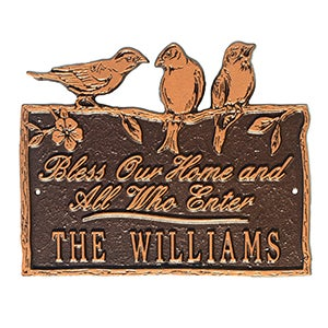 Personalized Aluminum Plaque - Birds On A Branch - 15809D