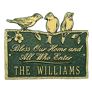 Personalized Aluminum Plaque - Birds On A Branch - 15809D
