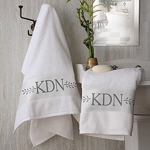 Monogrammed Bath Towels - Meadow Monogram - 15812
