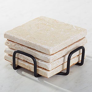 Tumbled Stone Coaster Holder - Black Metal - 15819