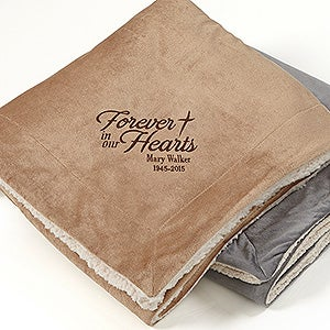 Embroidered Memorial Sherpa Blanket - Heartfelt Memories - 15827