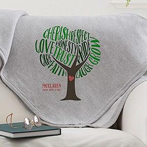 Personalized Sweatshirt Family Blanket - Tree Of Words - 15841