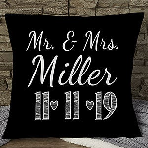 Our Wedding Date Personalized Throw Pillow - 15843