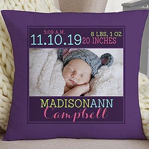 Personalized Keepsake Baby Pillow - Darling Baby Girl - 15855