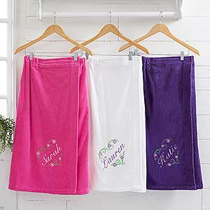 Embroidered Towel Wrap - Floral Heart - 15863