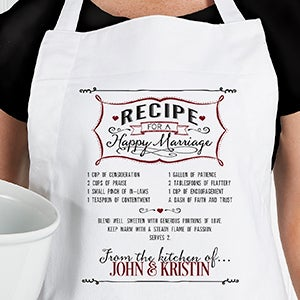 Personalized Wedding Apron & Potholder - Recipe For A Happy Marriage - 15873