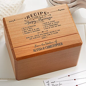 Personalized Wedding Recipe Box & Cards - Recipe For A Happy Marriage - 15885