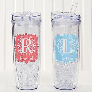 Personalized Flip 'n' Sip Tumbler - Blooming Monogram - 15891