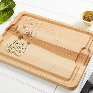 Personalized Christmas Maple Cutting Board - Snowflakes - 15910