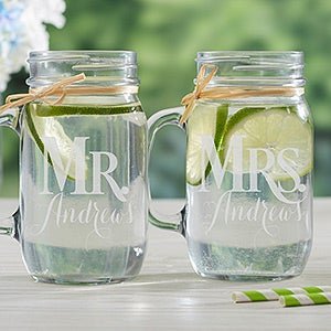 Personalized Wedding Glass Mason Jar 2 Piece Set - Mr. & Mrs. - 15921