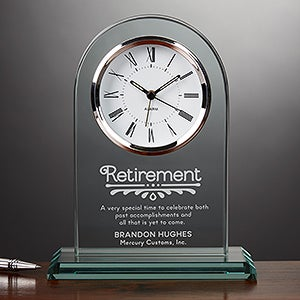 Engraved Glass Personalized Retirement Clock - Timeless Recognition - 15951