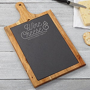 Personalized Slate & Wood Paddle - Wine & Cheese Board - 15958