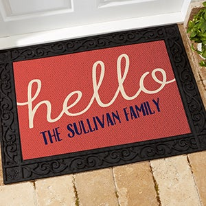Personalized Greetings Doormat Recycled Rubber Back