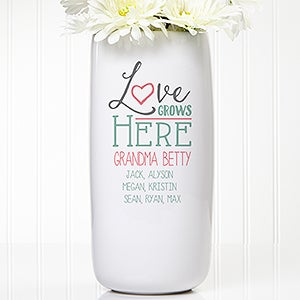 Personalized Ceramic Vase - Love Grows Here - 15977