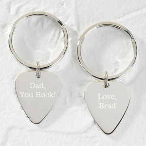Personalized Silver Guitar Pick Keychain - You Rock! - 15978