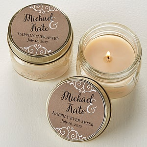 Personalized Rustic Wedding Mason Jar Candle Favors - 15999