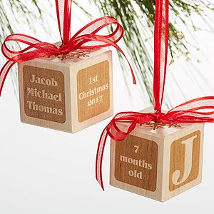 Personalized Wood Block Ornament - Baby's 1st Christmas - 16003D