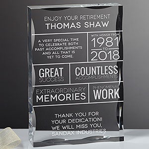 Personalized Retirement Keepsake Block - 16033