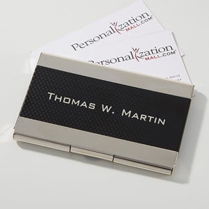 Personalized Black & Silver Business Card Case - Executive - 16036