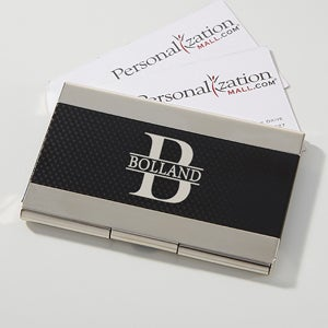 Personalized Black & Silver Business Card Case - Namely Yours - 16037