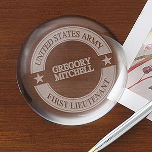 Personalized Military Crystal Prism Paperweight - 16040