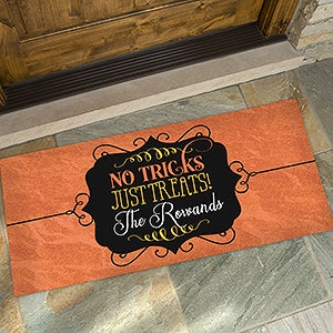 No Tricks, Just Treats Personalized Oversized Doormat  24x48   On Sale  Today!