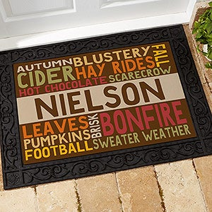 Personalized Fall Recycled Rubber Back Doormat - Fall Fun