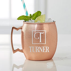 Personalized Copper Moscow Mule Mug - Square Monogram - 16085