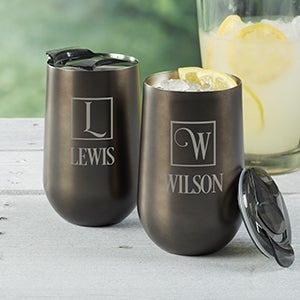 Personalized Travel Tumbler - Square Monogram - 16087