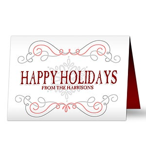 Personalized Christmas Cards - Family Swirl - 16101