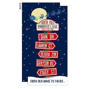 North Pole Family Sign Personalized Holiday Postcards - 16103