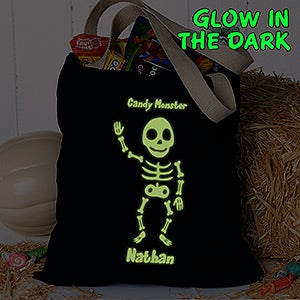 Glow-In-The-Dark Skeleton Personalized Treat Bag - #16106
