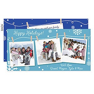 Clothesline Snow Personalized Holiday Photo Cards - 16109