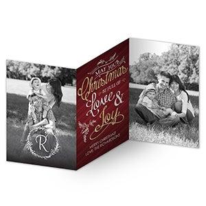 Personalized 3 Panel Photo Christmas Cards - Christmas Joy - 16114