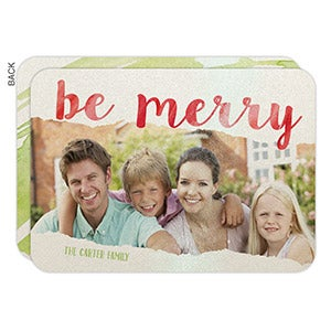 Personalized Watercolor Christmas Flat Cards - Be Merry - 16122