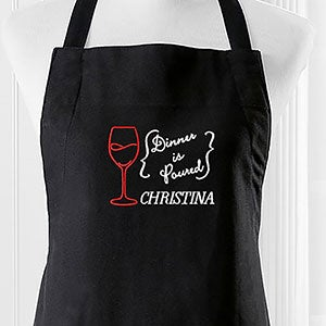 Embroidered Apron - Dinner Is Poured - 16151