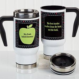 Personalized Teacher Commuter Travel Mug - Teacher's Green Apple - 16179