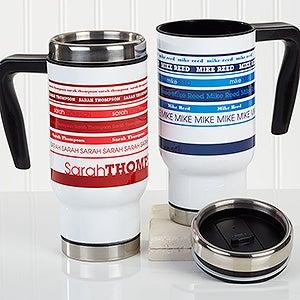 Personalized Commuter Travel Mug - Signature Stripe - 16185