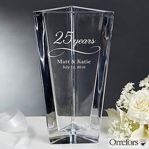 Orrefors Etched Crystal Anniversary Vase - 16202