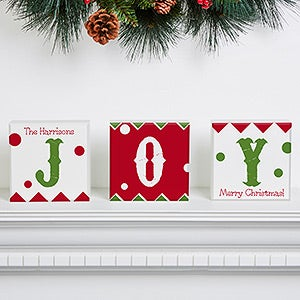 Personalized Christmas Shelf Blocks Set Of 3 - Jolly Jester - 16208