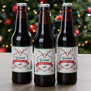 Personalized Christmas Beer Bottle Labels Set Of 6 - Holiday Brew - 16210