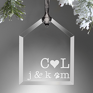 Personalized Family Glass Ornament - Family Initials - 16223