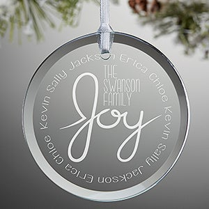 Personalized Glass Family Christmas Ornament - Family Is Joy - 16224